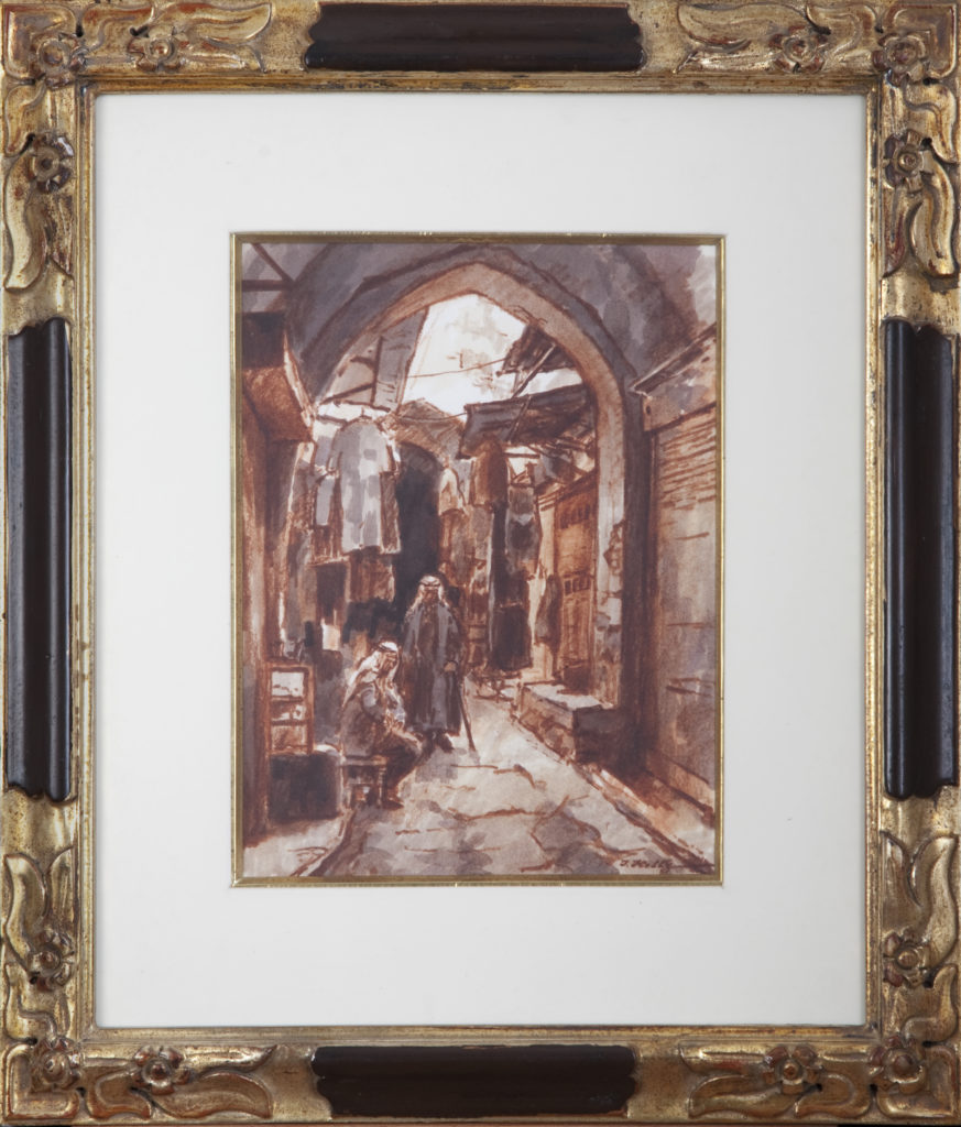 007 Old City Alley Jerusalem 1972 - Marker - 9 x 12 - Frame: 17.5 x 20.5 x 1