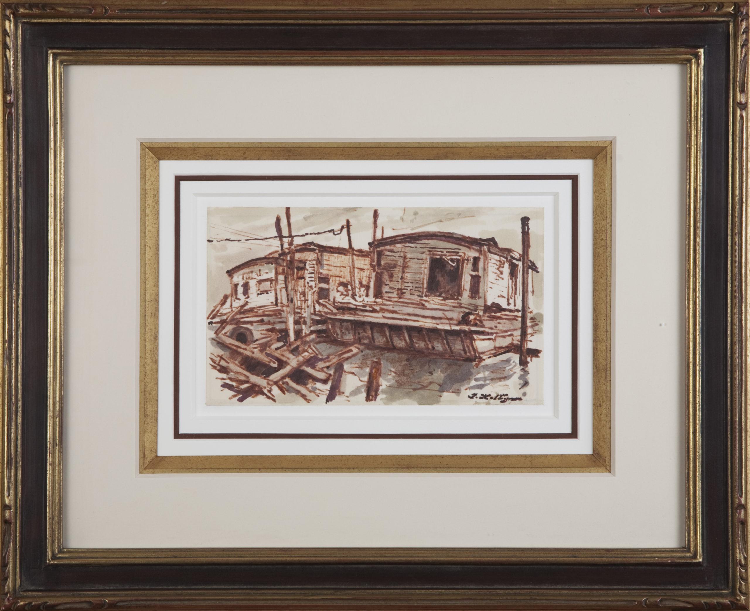 079 Barges on the Hudson 1970 - Marker - 8 x 5 - Frame: 18 x 14.5 x 1.5