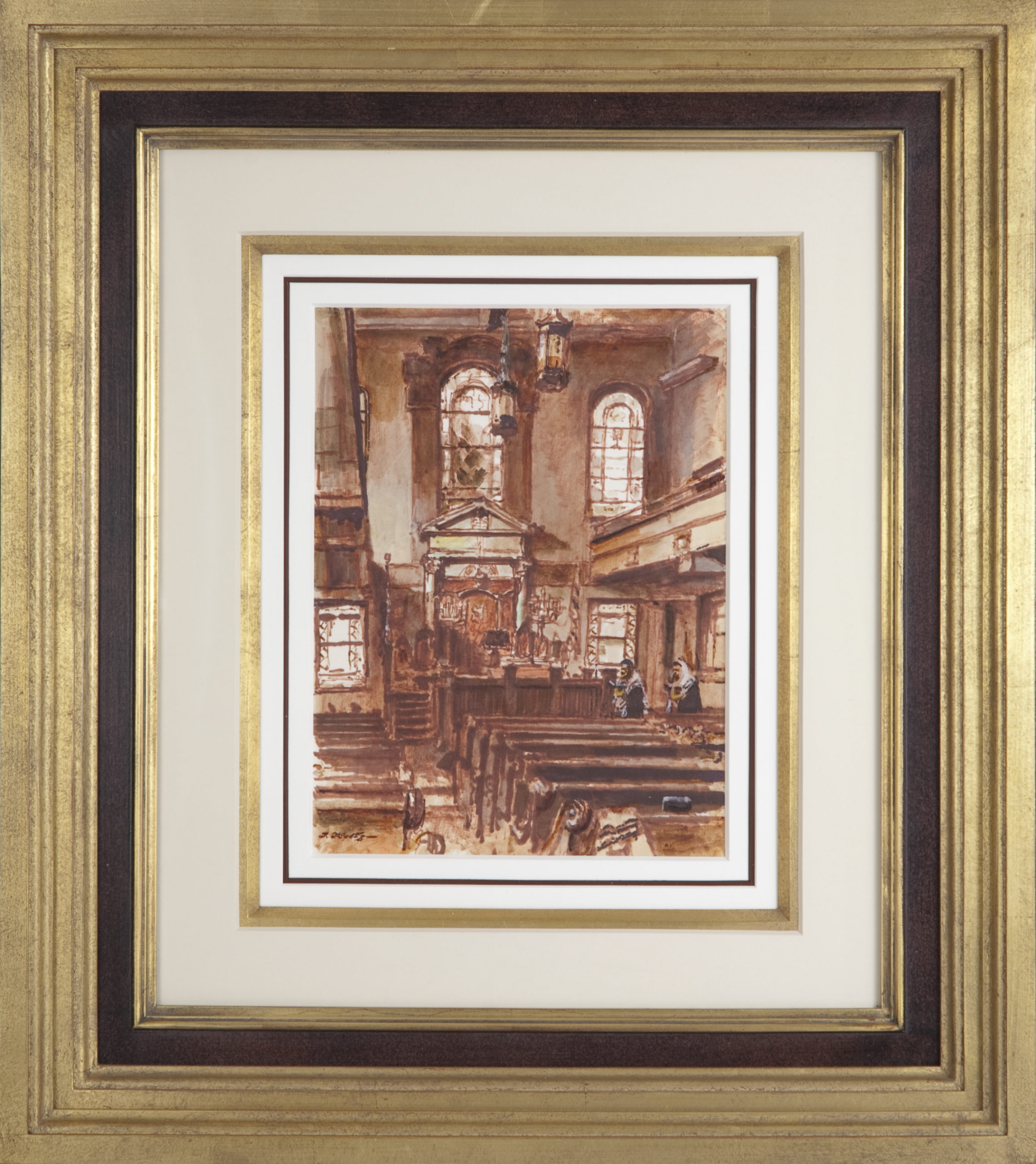 080 Washington Heights Synagogue 1971 - Marker - 9 x 12 - Frame: 21.5 x 24.5 x 2.25