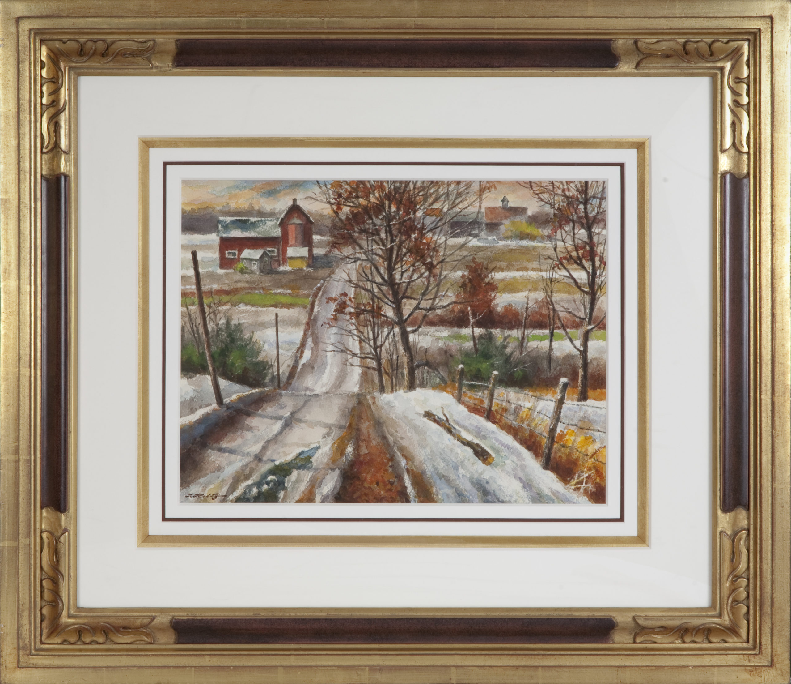 083 The Road to Monticello 1965 - Watercolor - 16 x 12 - Frame: 29 x 25.25 x 2