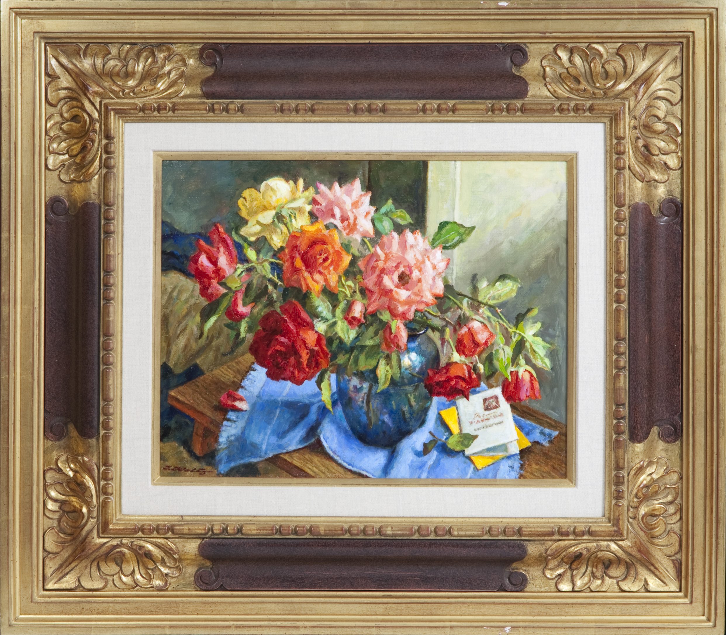 087 Israeli Roses 2007 - Oil on Masonite - 18 x 14 - Frame: 31 x 27.25 x 2.5