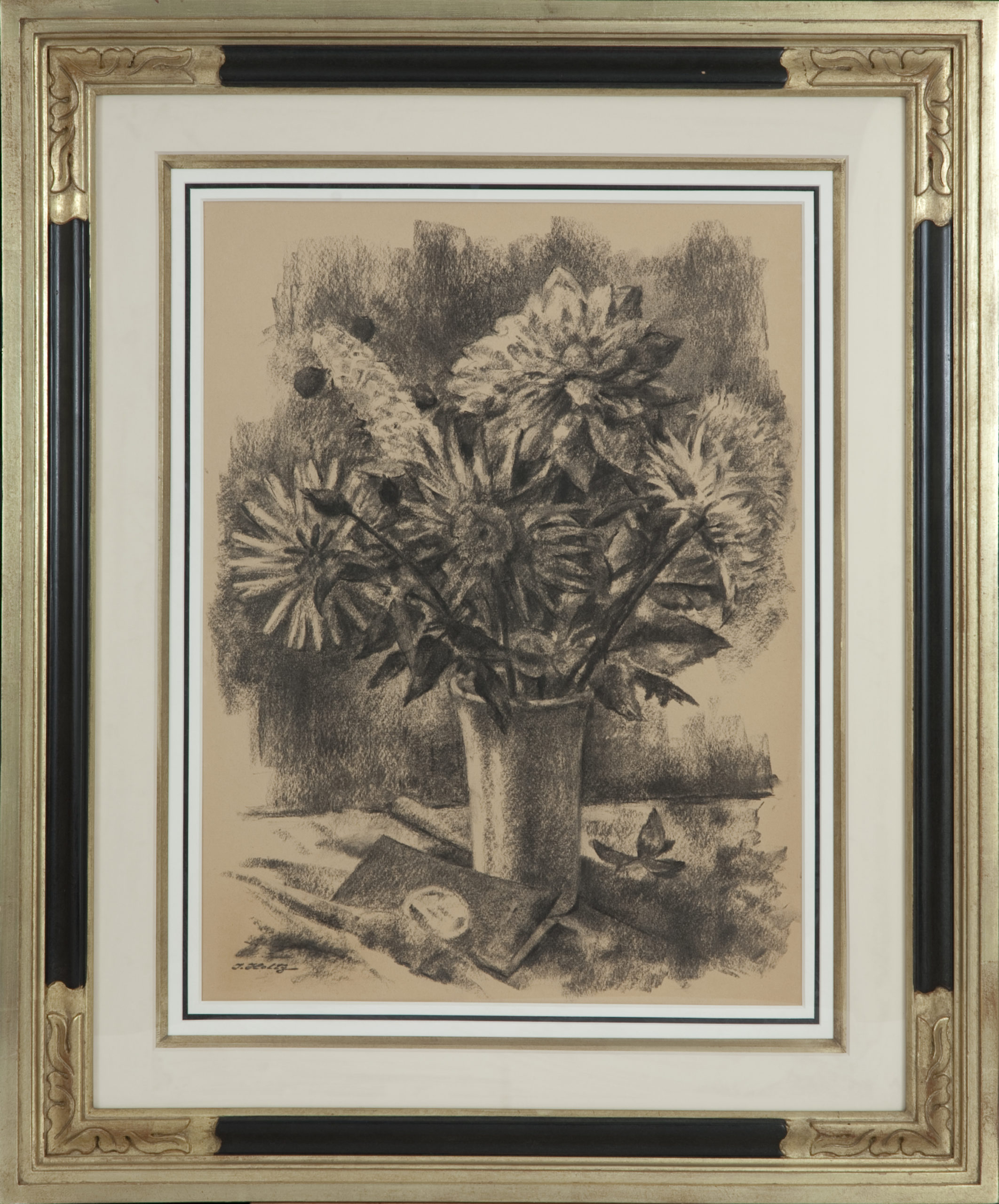 088 Floral Arrangement 1960 - Charcoal - 18 x 24 - Frame: 29 x 36 x 2