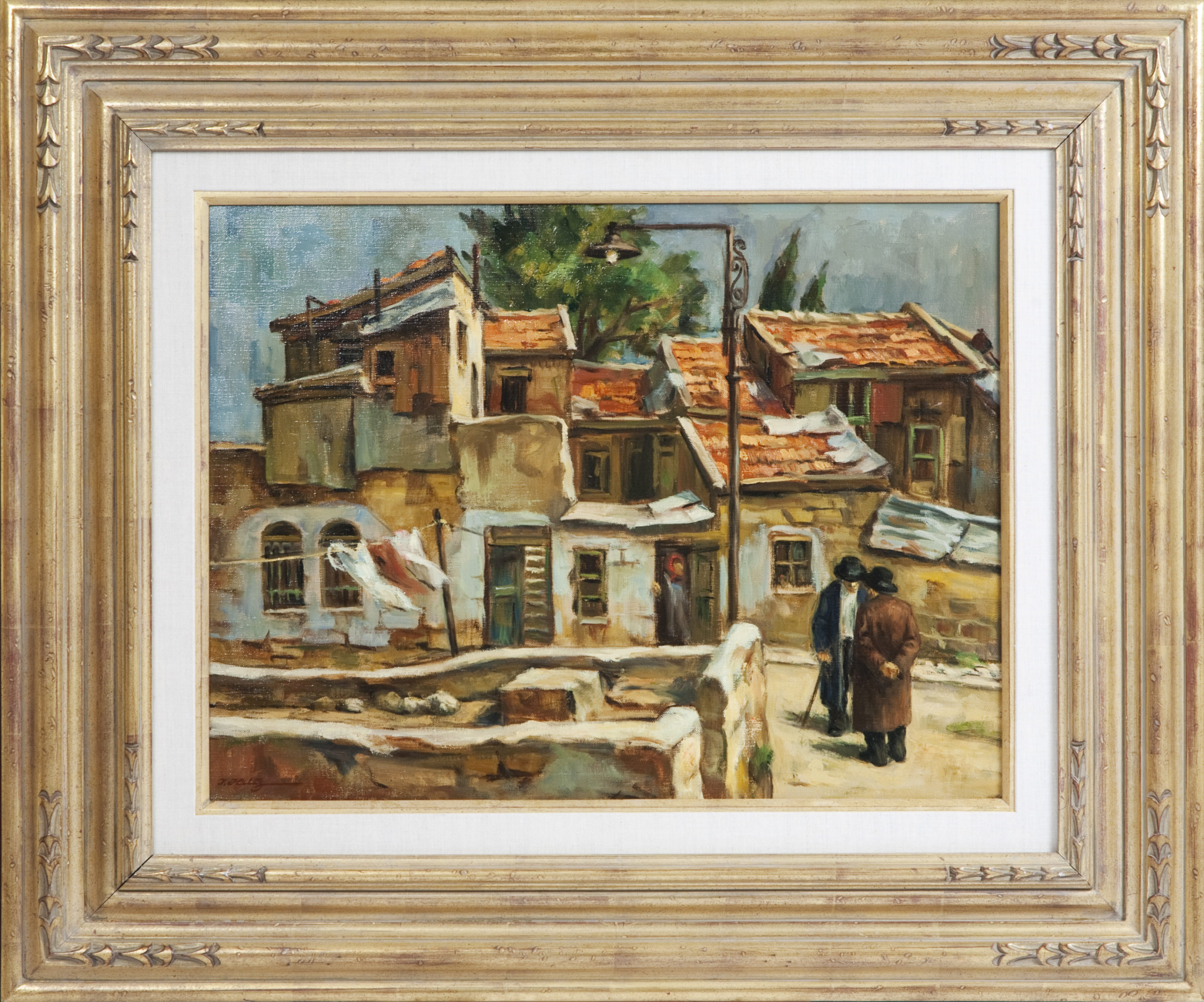 090 Old Houses Jerusalem 1967 - Oil on Canvas - 24 x 18 - Frame: 36 x 30 x 2.5