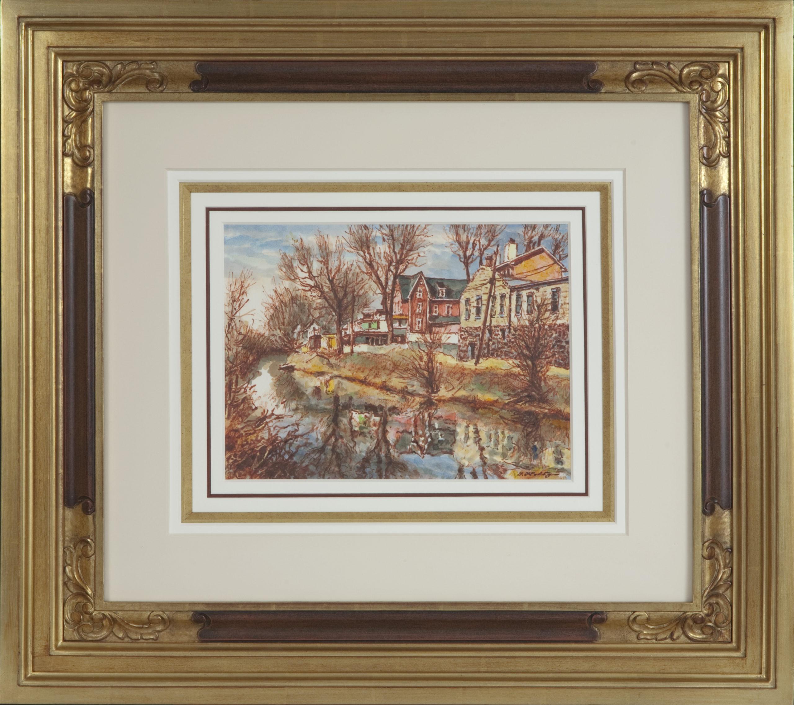 091 Canal Lambertville NJ 1982 - Watercolor - 12.5 x 9.5 - Frame: 27.25 x 24 x 2.5