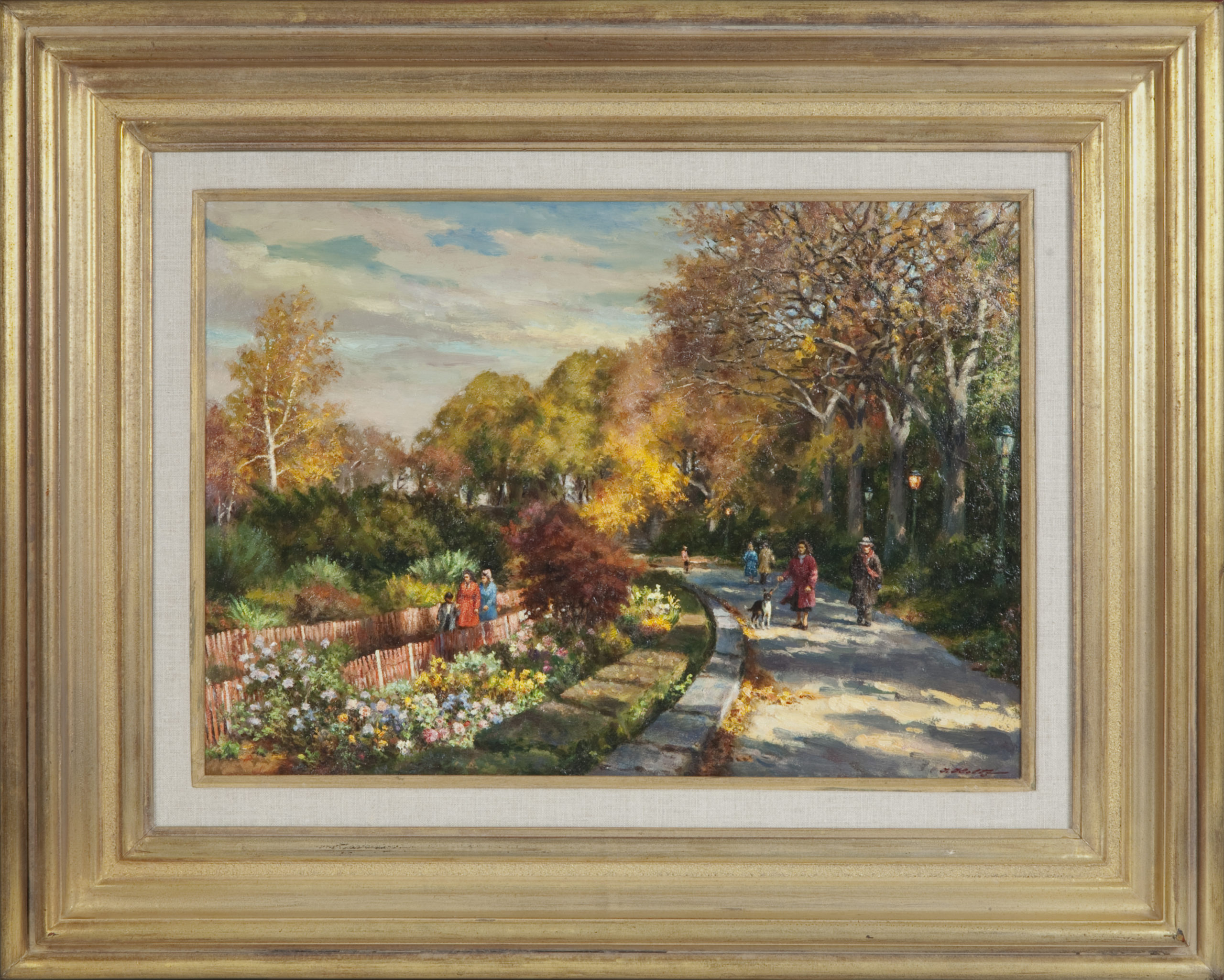 106 Fort Tryon Park 1988 - Oil on Masonite - 20 x 14 - Frame: 30 x 23.5 x 2