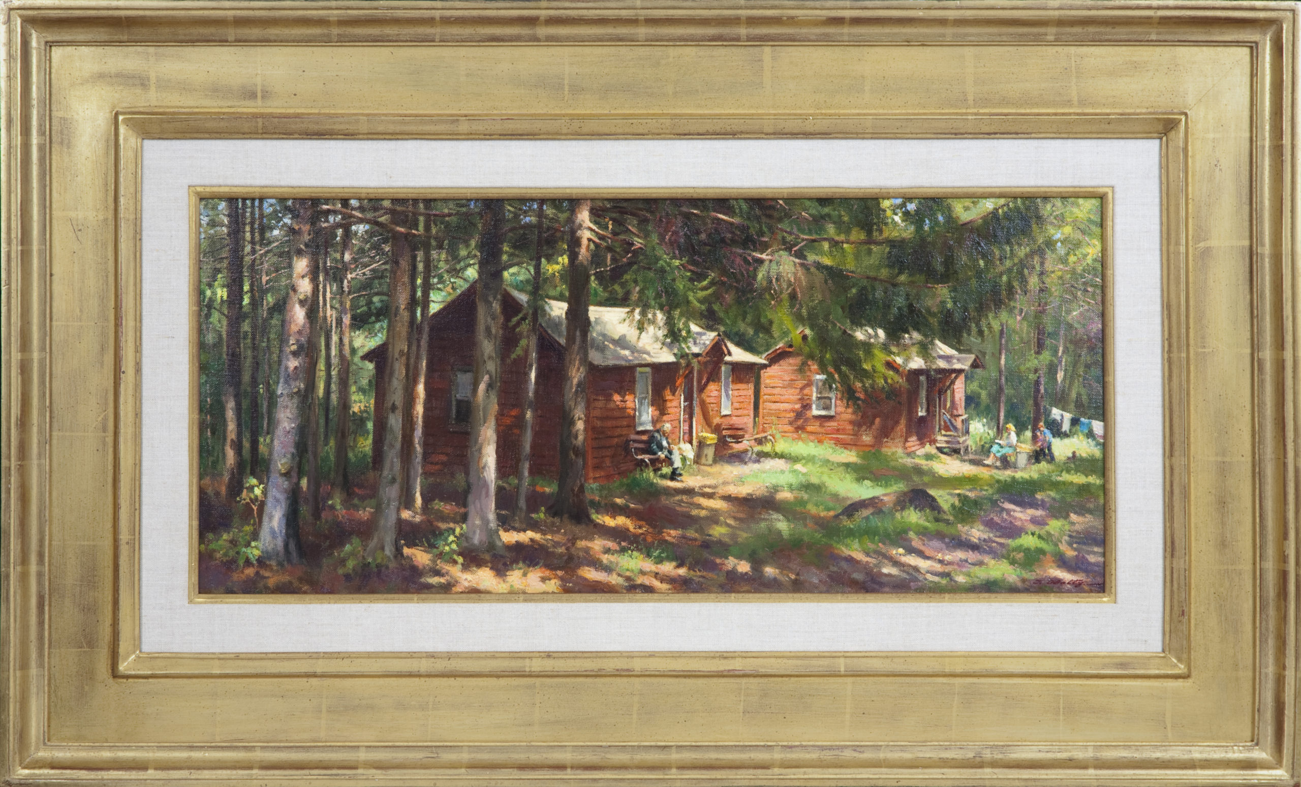 109 Bungalow in the Poconos 1979 - Oil on Canvas - 28 x 12 - Frame: 39.5 x 23.5 x 2