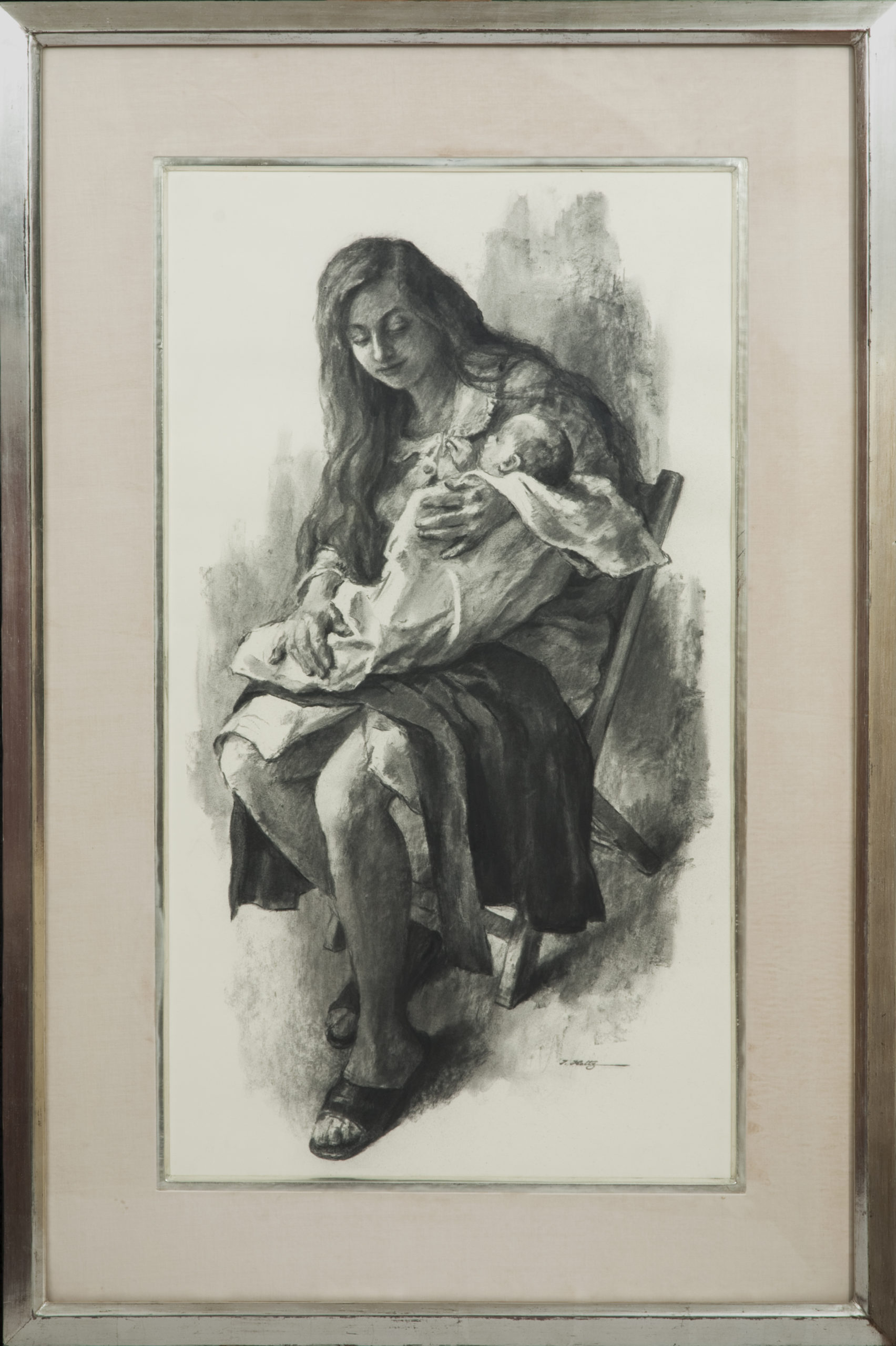 110 Mothers Joy 1971 - Charcoal - 15 x 27 - Frame: 24 x 36 x 2