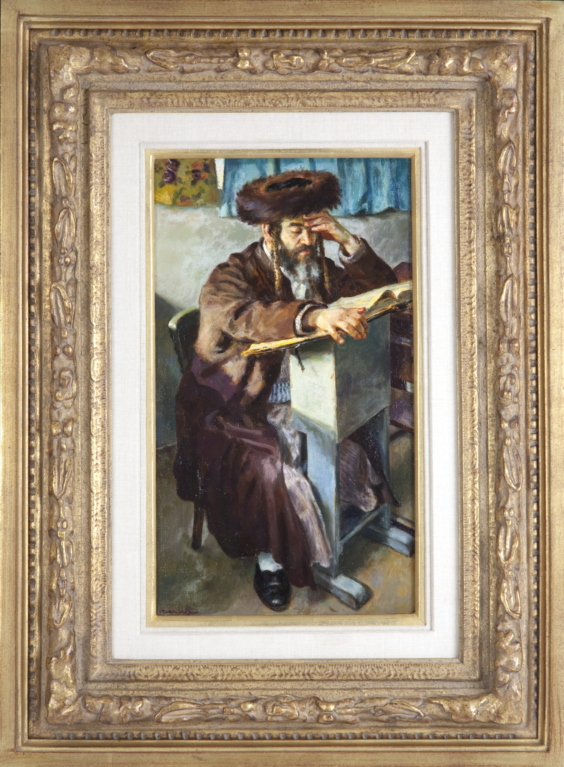 115 Talmud Review 1983 - Oil on Canvas - 10 x 18 - Frame: 21.5 x 29.5 x 2.5
